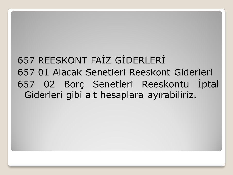 657 REESKONT FAİZ GİDERLERİ