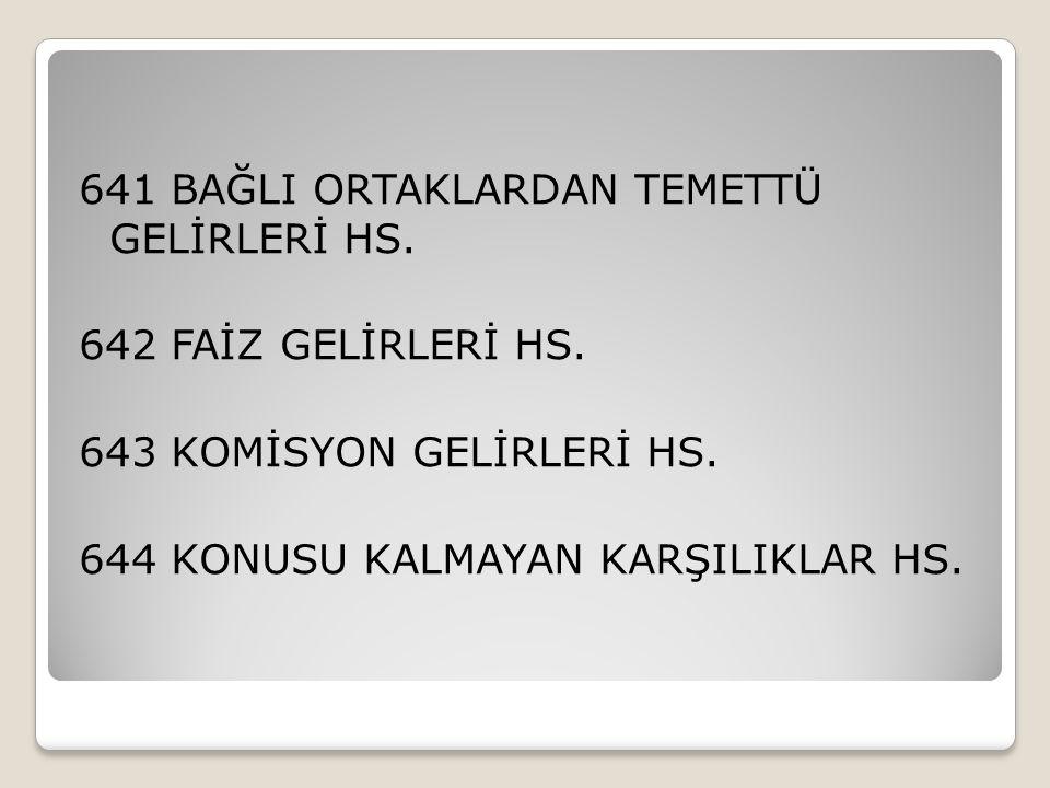 641 BAĞLI ORTAKLARDAN TEMETTÜ GELİRLERİ HS.