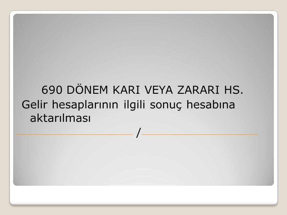 690 DÖNEM KARI VEYA ZARARI HS.