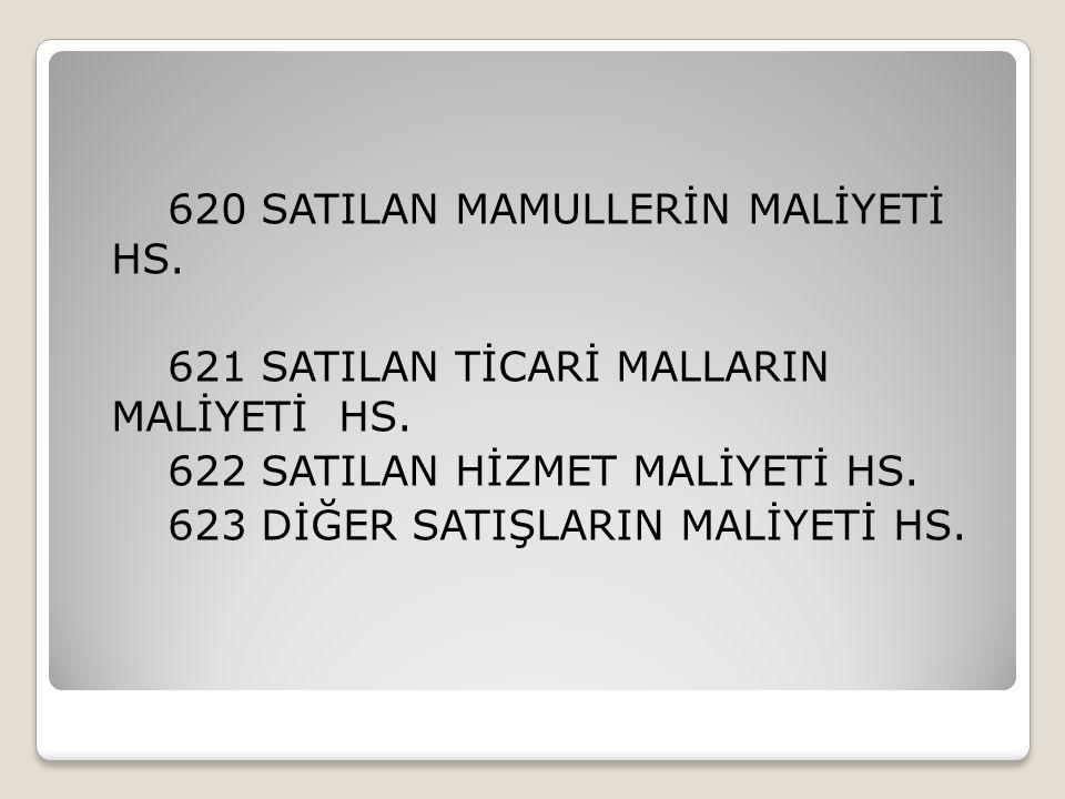 620 SATILAN MAMULLERİN MALİYETİ HS
