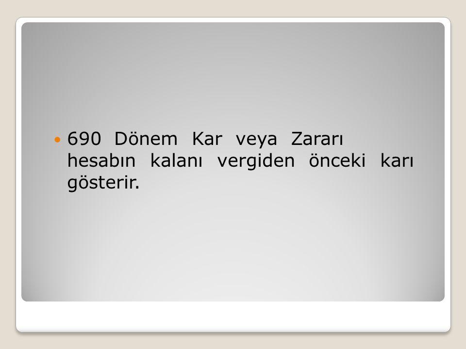 690 Dönem Kar veya Zararı hesabın kalanı vergiden önceki karı gösterir.
