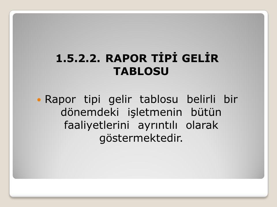 1.5.2.2. RAPOR TİPİ GELİR TABLOSU