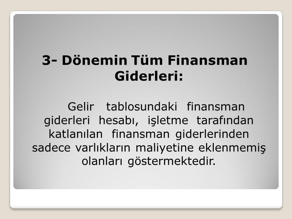 3- Dönemin Tüm Finansman Giderleri: