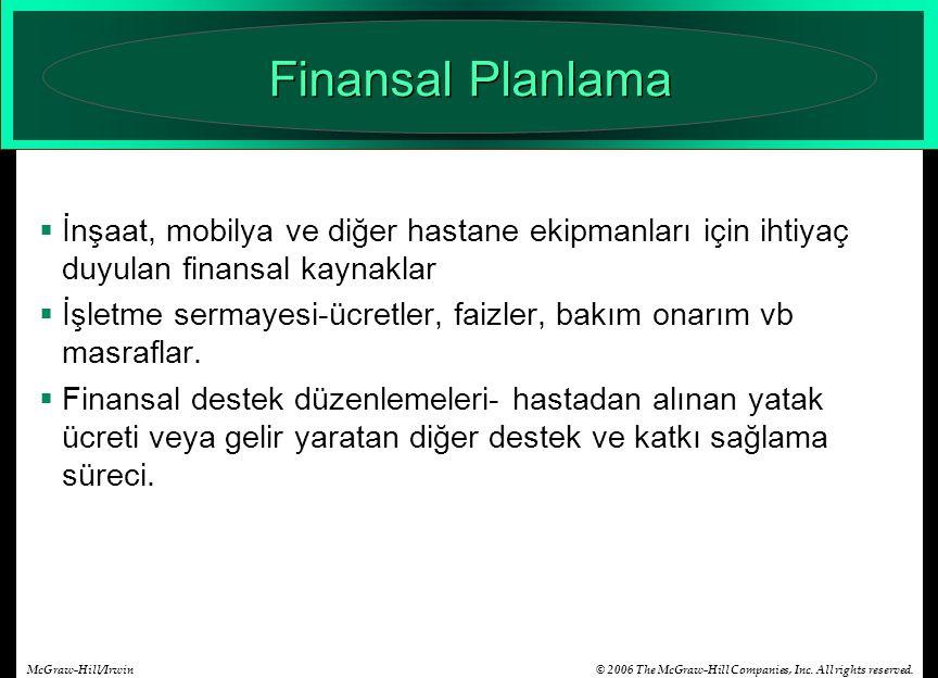 Finansal Planlama İnşaat, mobilya ve diğer hastane ekipmanları için ihtiyaç duyulan finansal kaynaklar.