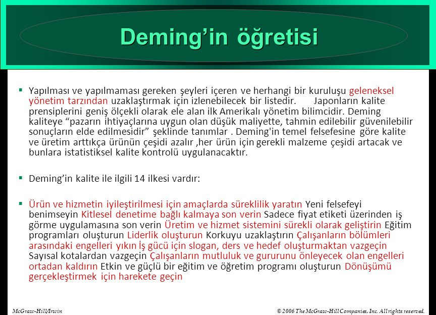 Deming'in öğretisi