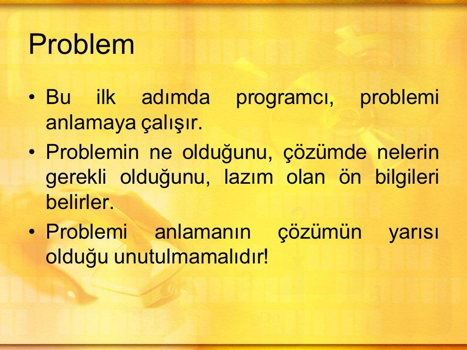 Problem Bu ilk adımda programcı, problemi anlamaya çalışır.