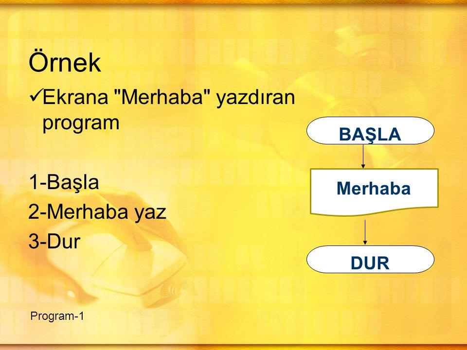 Örnek Ekrana Merhaba yazdıran program 1-Başla 2-Merhaba yaz 3-Dur