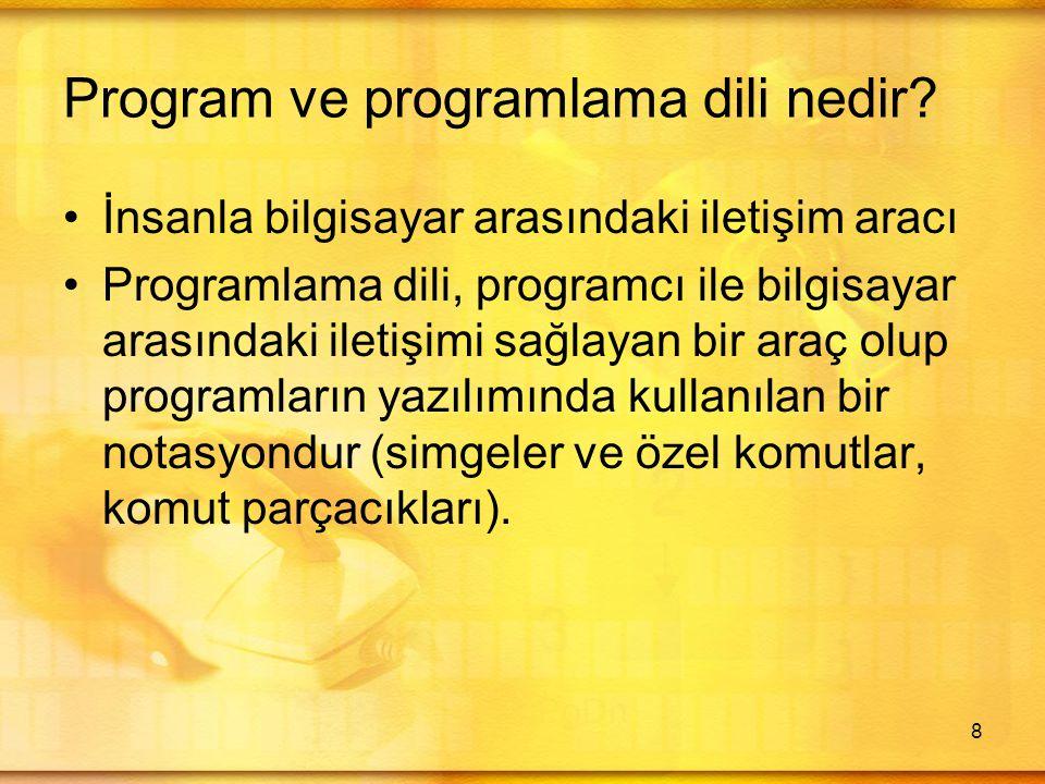 Program ve programlama dili nedir