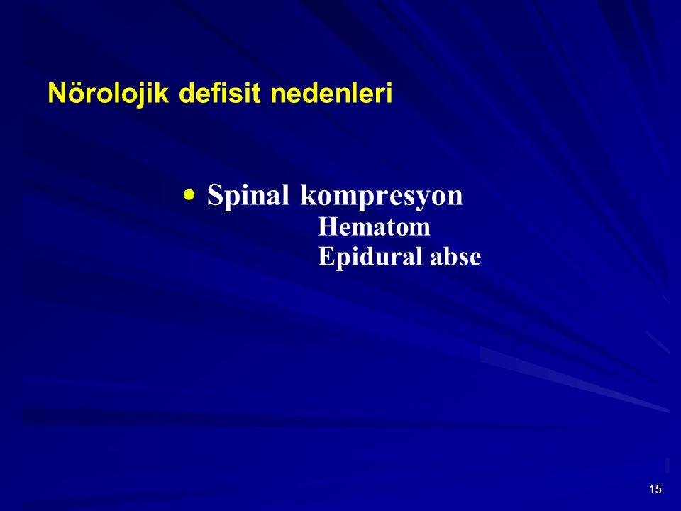 Spinal kompresyon Hematom Epidural abse