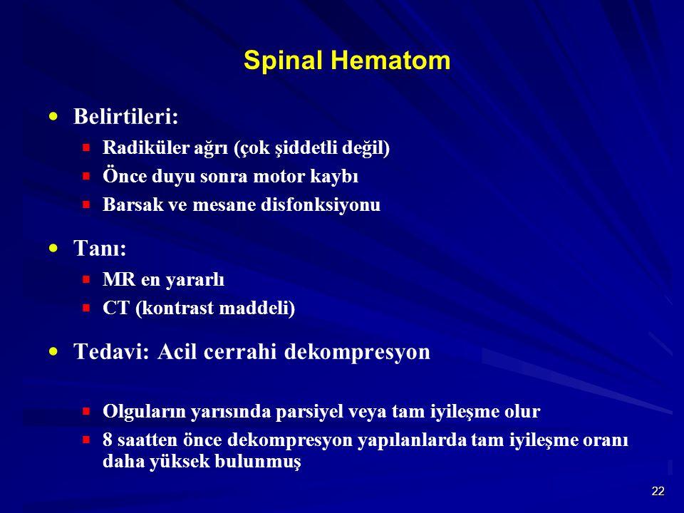 Spinal Hematom Belirtileri: Tanı: Tedavi: Acil cerrahi dekompresyon