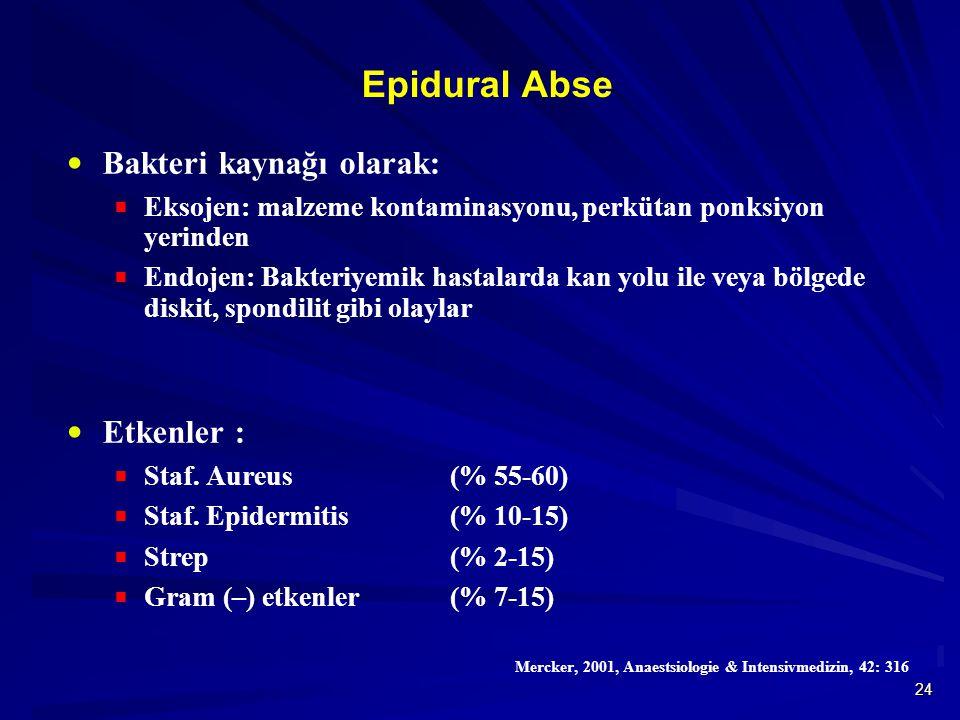 Epidural Abse Bakteri kaynağı olarak: Etkenler :