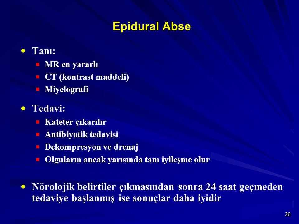 Epidural Abse Tanı: Tedavi: