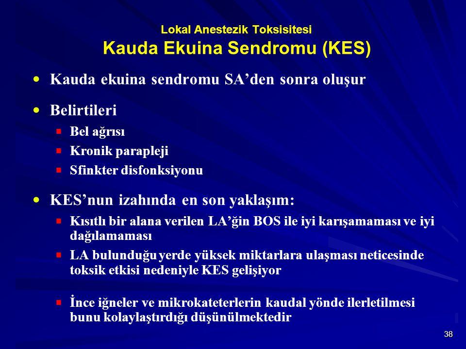 Lokal Anestezik Toksisitesi Kauda Ekuina Sendromu (KES)