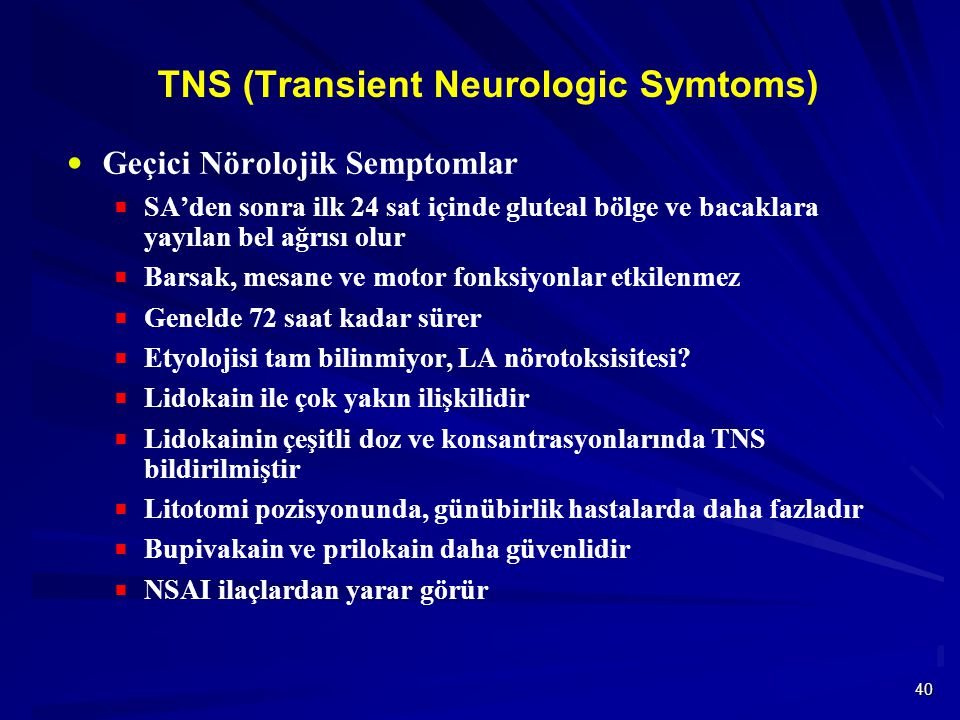 TNS (Transient Neurologic Symtoms)