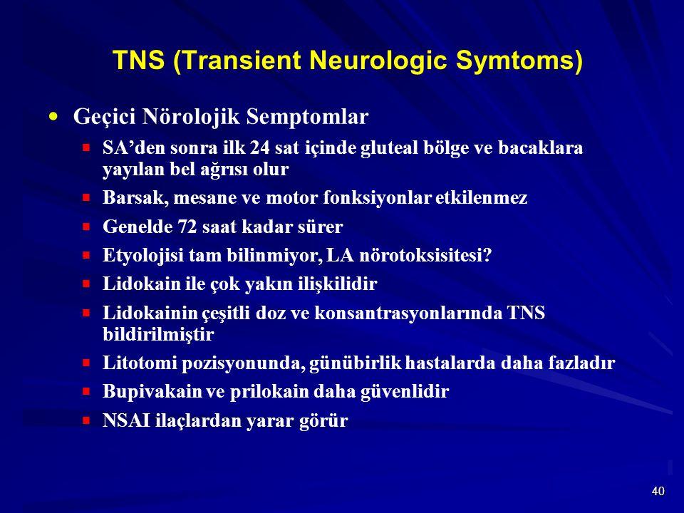 TNS (Transient Neurologic Symtoms)