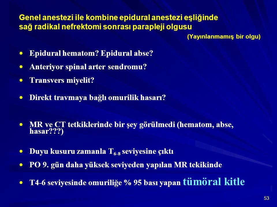 Epidural hematom Epidural abse Anteriyor spinal arter sendromu