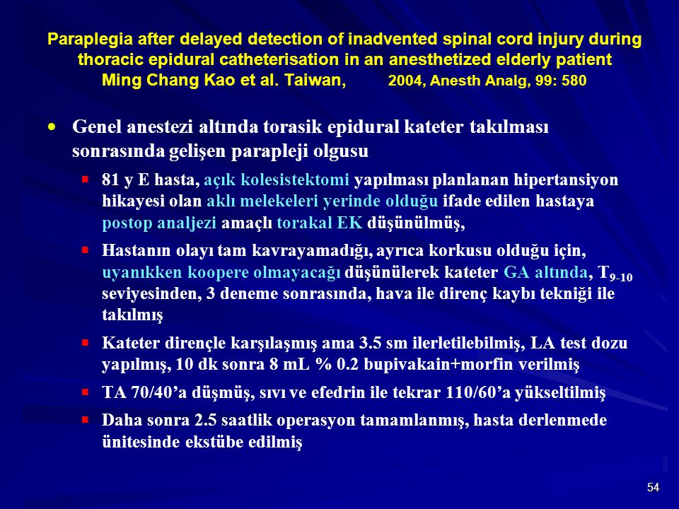 Paraplegia after delayed detection of inadvented spinal cord injury during thoracic epidural catheterisation in an anesthetized elderly patient Ming Chang Kao et al. Taiwan, 2004, Anesth Analg, 99: 580