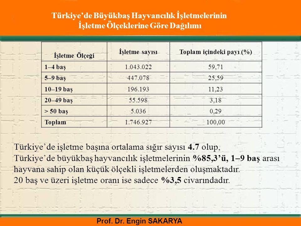 Türkiye'de işletme başına ortalama sığır sayısı 4.7 olup,