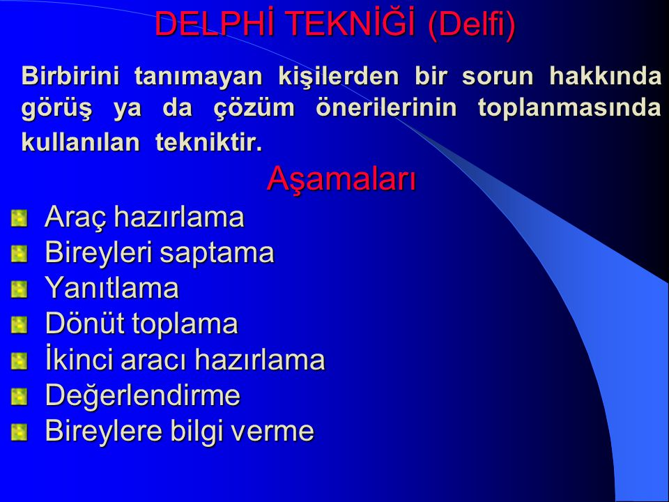DELPHİ TEKNİĞİ (Delfi)
