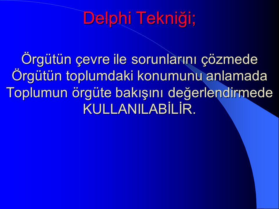 Delphi Tekniği; Örgütün çevre ile sorunlarını çözmede