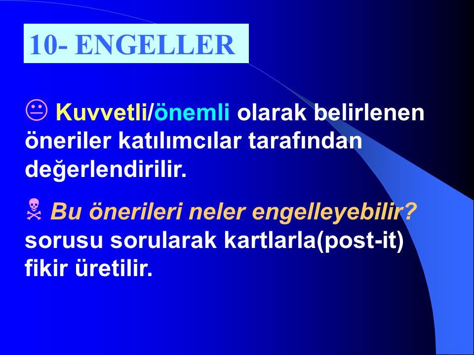 10- ENGELLER Kuvvetli/önemli olarak belirlenen öneriler katılımcılar tarafından değerlendirilir.
