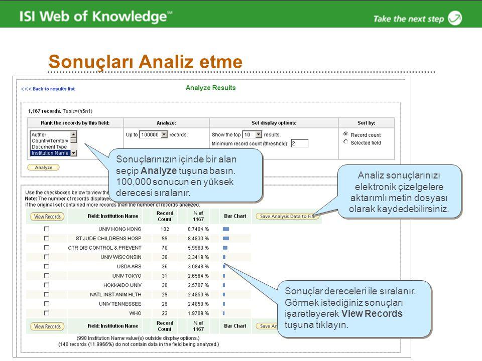 Sonuçları Analiz etme Sonuçlarınızın içinde bir alan seçip Analyze tuşuna basın. 100,000 sonucun en yüksek derecesi sıralanır.