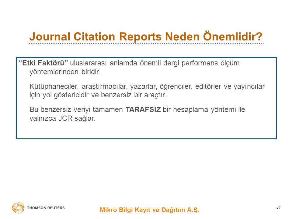 Journal Citation Reports Neden Önemlidir