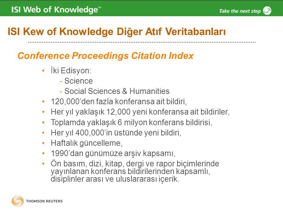 ISI Kew of Knowledge Diğer Atıf Veritabanları