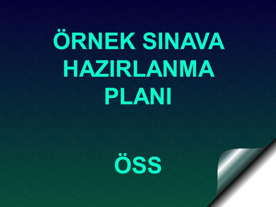 ÖRNEK SINAVA HAZIRLANMA PLANI