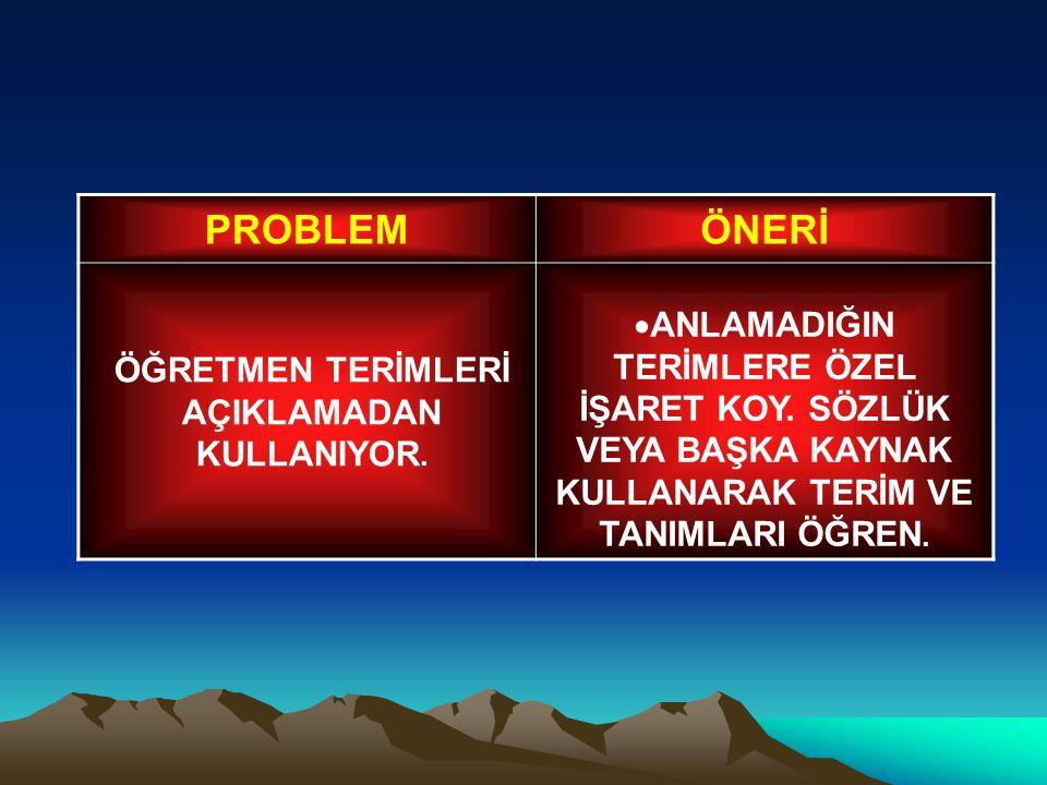 ÖĞRETMEN TERİMLERİ AÇIKLAMADAN KULLANIYOR.