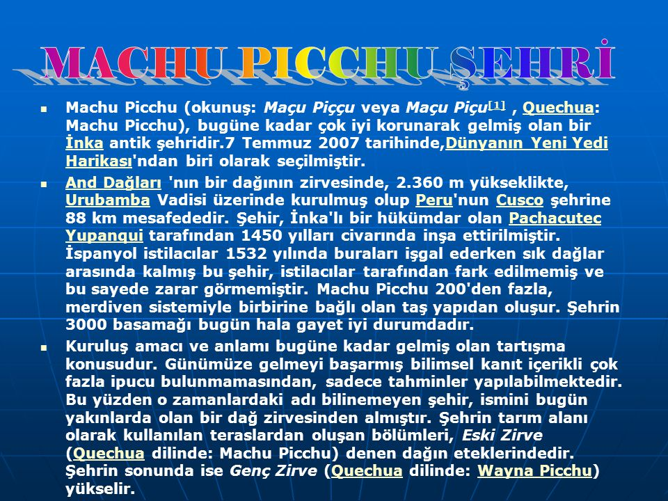 MACHU PICCHU ŞEHRİ