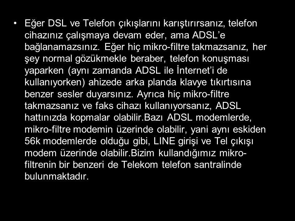 Eğer DSL ve Telefon çıkışlarını karıştırırsanız, telefon cihazınız çalışmaya devam eder, ama ADSL'e bağlanamazsınız.