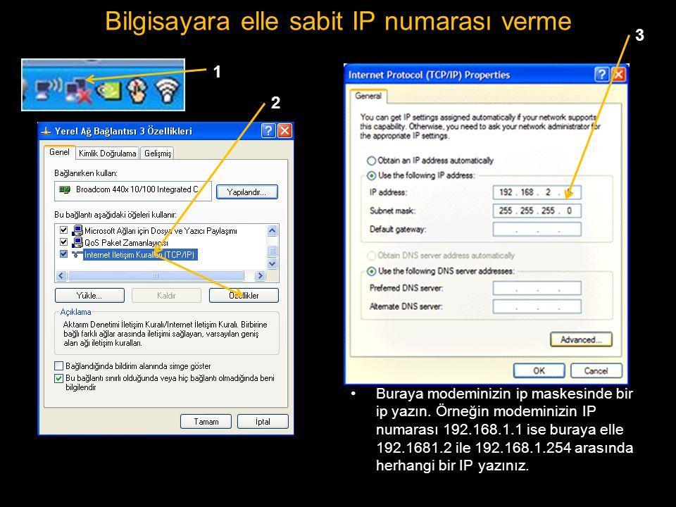 Bilgisayara elle sabit IP numarası verme