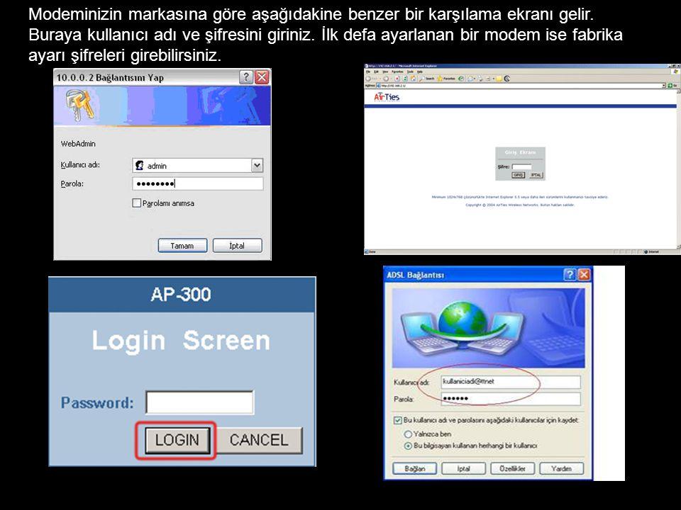 Modeminizin markasına göre aşağıdakine benzer bir karşılama ekranı gelir.