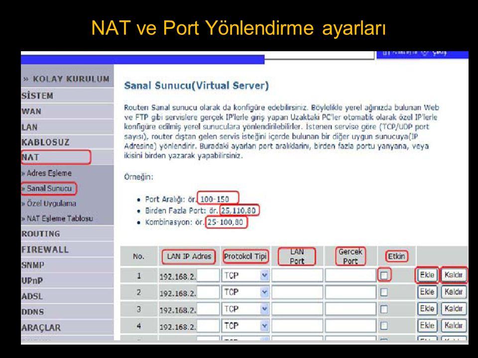 NAT ve Port Yönlendirme ayarları