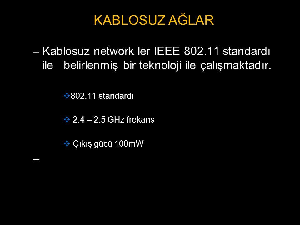 KABLOSUZ AĞLAR Kablosuz network ler IEEE 802.11 standardı ile belirlenmiş bir teknoloji ile çalışmaktadır.