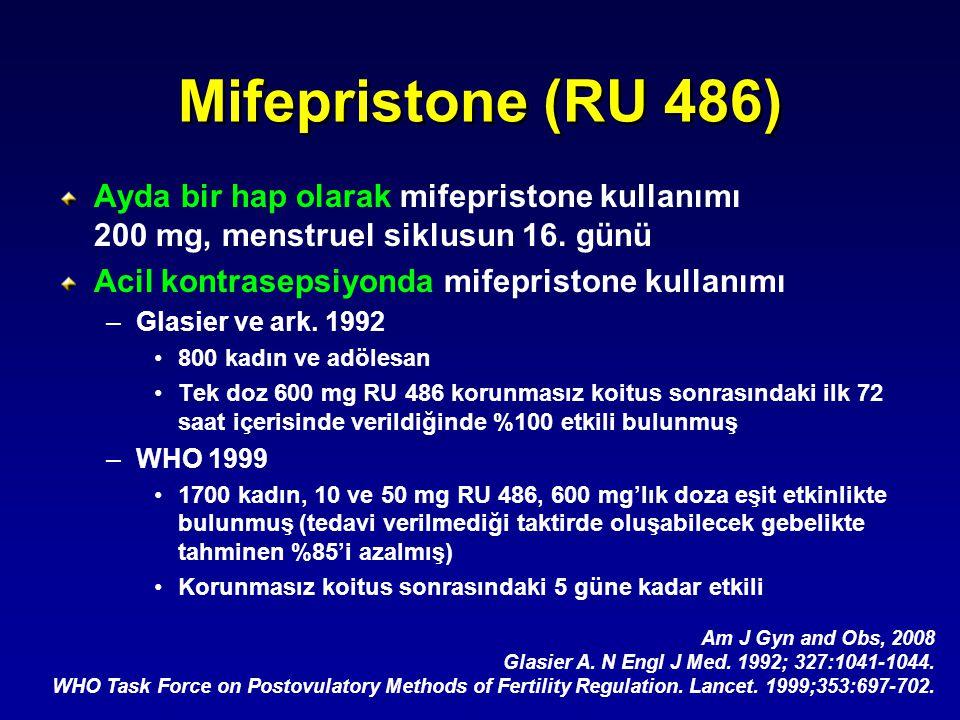 Mifepristone (RU 486) Ayda bir hap olarak mifepristone kullanımı 200 mg, menstruel siklusun 16. günü.
