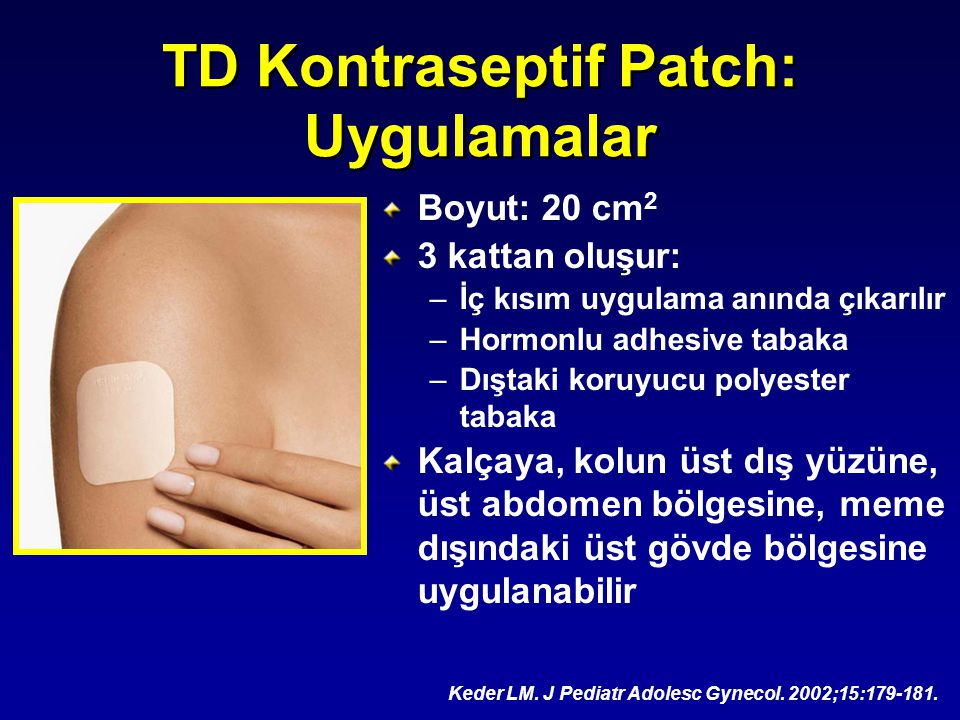 TD Kontraseptif Patch: Uygulamalar