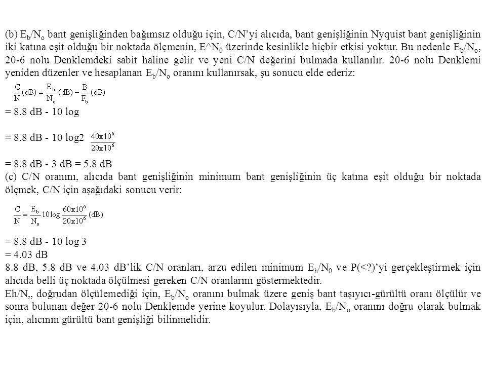 (b) Eb/No bant genişliğinden bağımsız olduğu için, C/N'yi alıcıda, bant genişliğinin Nyquist bant genişliğinin iki katına eşit olduğu bir noktada ölçmenin, E^N0 üzerinde kesinlikle hiçbir etkisi yoktur. Bu nedenle Eb/No, 20-6 nolu Denklemdeki sabit haline gelir ve yeni C/N değerini bulmada kullanılır. 20-6 nolu Denklemi yeniden düzenler ve hesaplanan Eb/No oranını kullanırsak, şu sonucu elde ederiz: