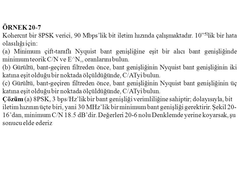 ÖRNEK 20-7 Kohercnt bir 8PSK verici, 90 Mbps'lik bit iletim hızında çalışmaktadır. 10 5llik bir hata olasılığı için: