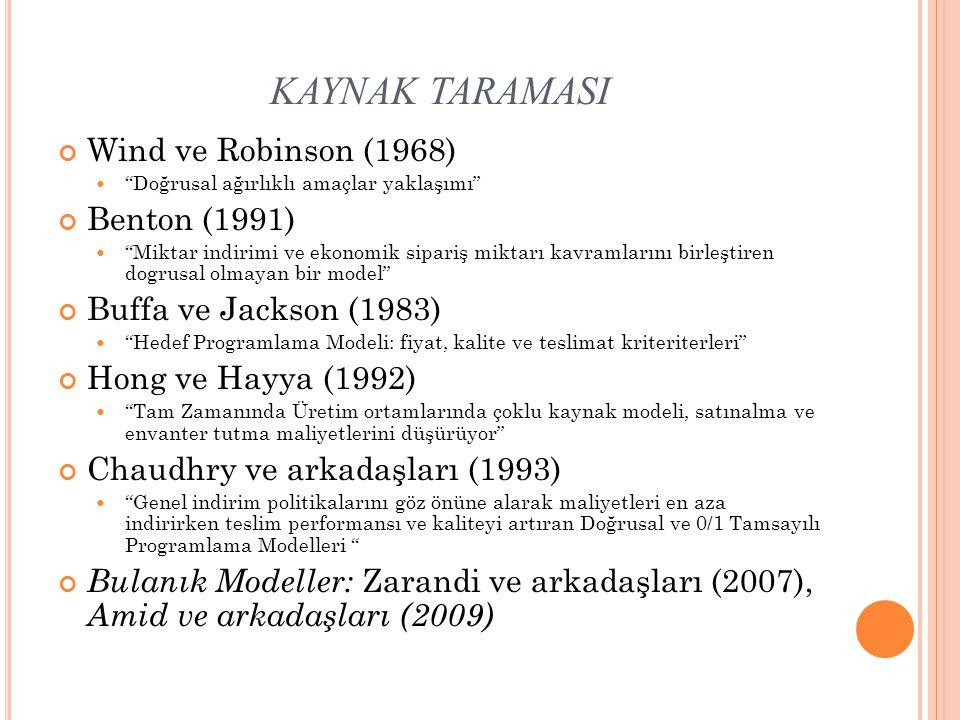 KAYNAK TARAMASI Wind ve Robinson (1968) Benton (1991)