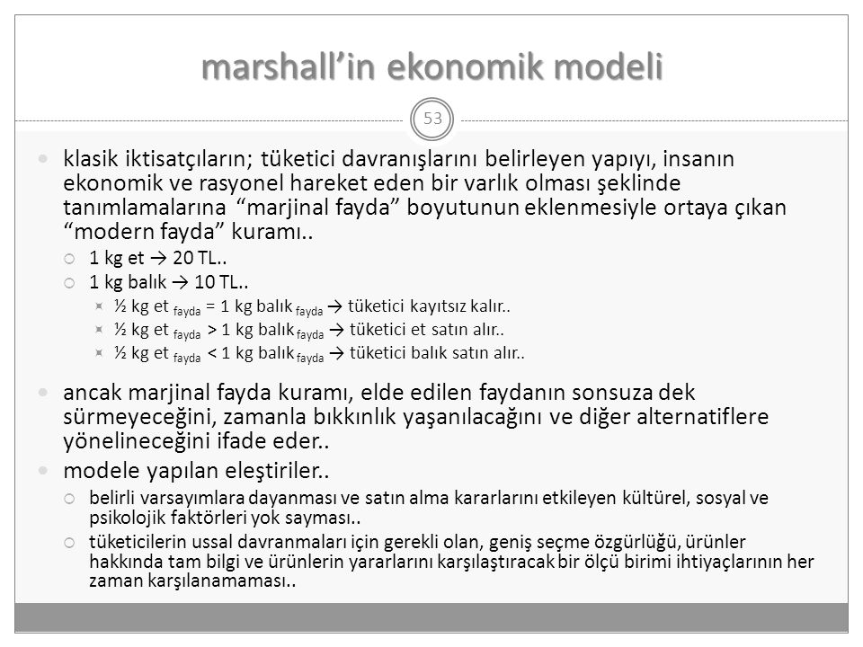 marshall'in ekonomik modeli