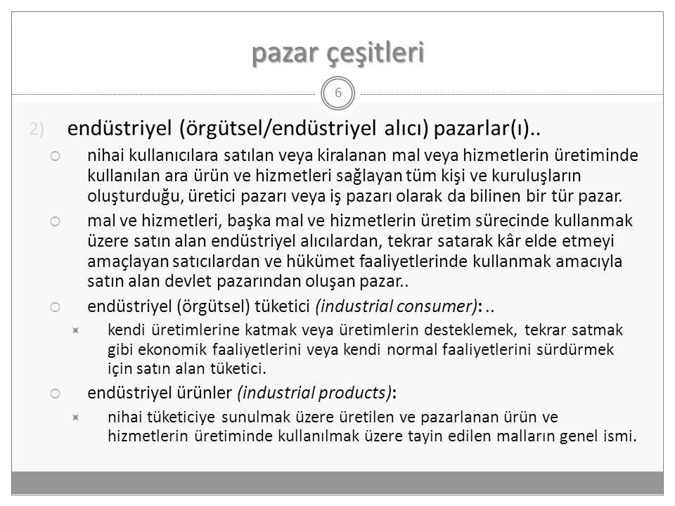 pazar çeşitleri endüstriyel (örgütsel/endüstriyel alıcı) pazarlar(ı)..