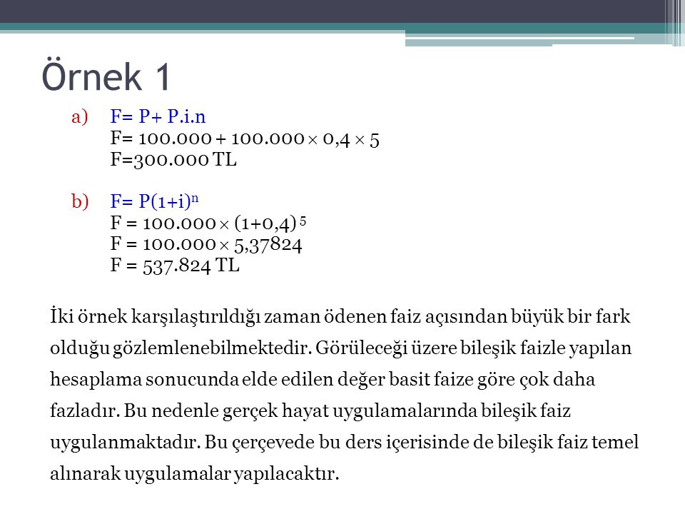 Örnek 1 F= P+ P.i.n F= 100.000 + 100.000  0,4  5 F=300.000 TL
