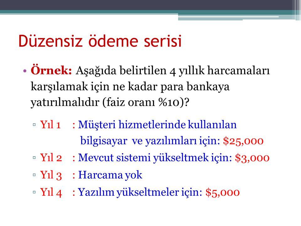 Düzensiz ödeme serisi Örnek: Aşağıda belirtilen 4 yıllık harcamaları karşılamak için ne kadar para bankaya yatırılmalıdır (faiz oranı %10)