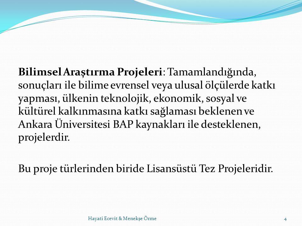 Bilimsel Araştırma Projeleri: Tamamlandığında, sonuçları ile bilime evrensel veya ulusal ölçülerde katkı yapması, ülkenin teknolojik, ekonomik, sosyal ve kültürel kalkınmasına katkı sağlaması beklenen ve Ankara Üniversitesi BAP kaynakları ile desteklenen, projelerdir. Bu proje türlerinden biride Lisansüstü Tez Projeleridir.