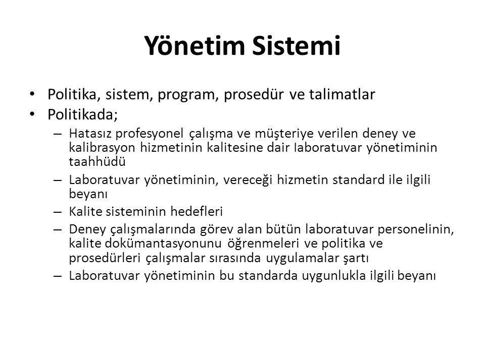 Yönetim Sistemi Politika, sistem, program, prosedür ve talimatlar