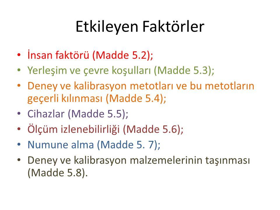 Etkileyen Faktörler İnsan faktörü (Madde 5.2);