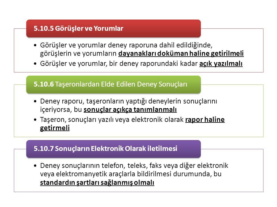 5.10.5 Görüşler ve Yorumlar Görüşler ve yorumlar deney raporuna dahil edildiğinde, görüşlerin ve yorumların dayanakları doküman haline getirilmeli.