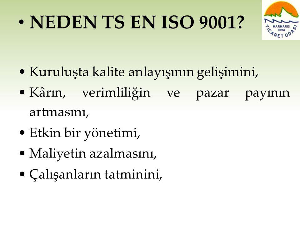 NEDEN TS EN ISO 9001 • Kuruluşta kalite anlayışının gelişimini,